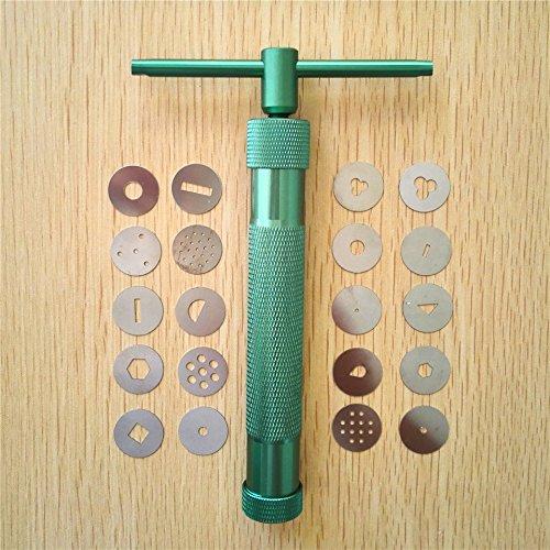 (Green Clay Extruders Sculpture Gun Clay Sugar Paste Extruder Fondant Cake Sculpture Polymer Gun Tool)