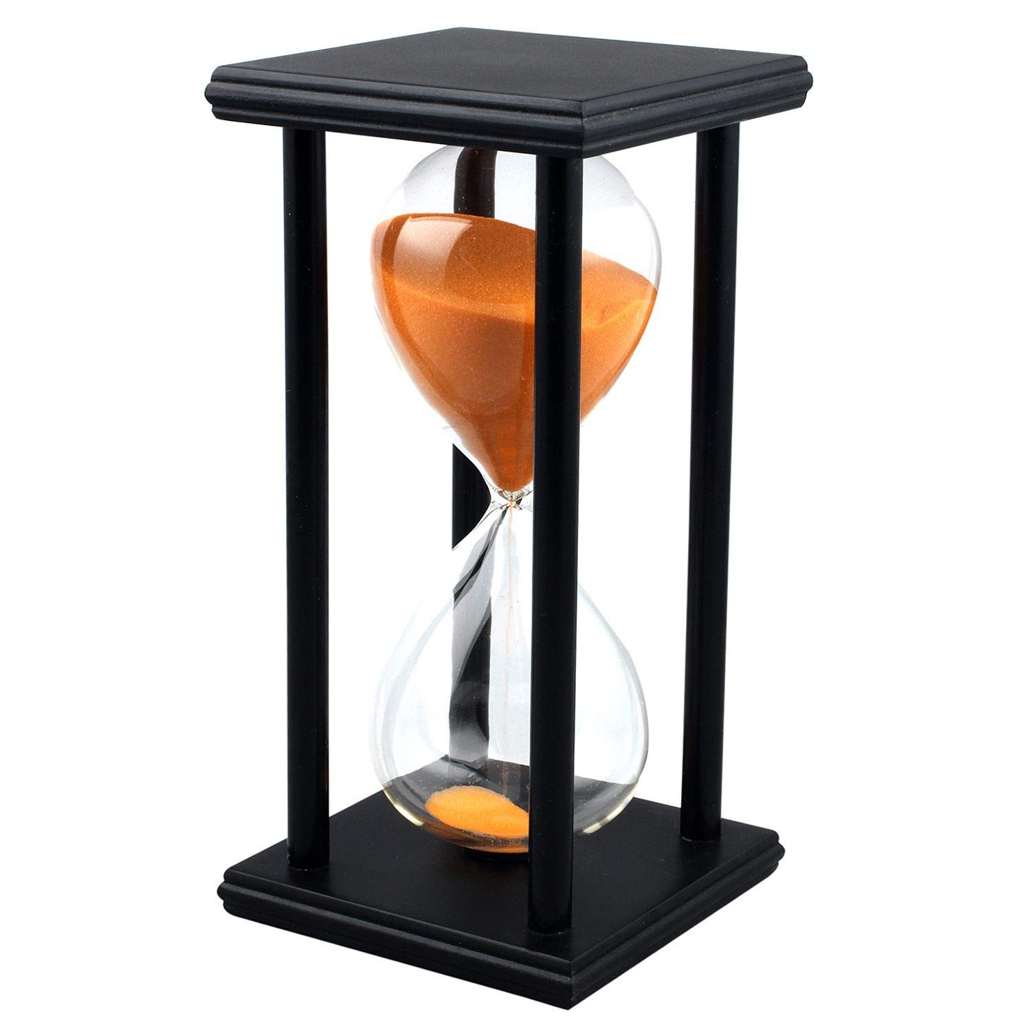 60 Minutes Hourglass Timer Creative Gifts Room Decor Hourglass (black frame orange sand)