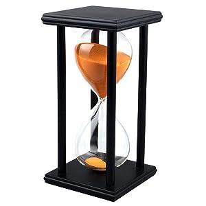 60 Minutes Hourglass Timer Creative Gifts Room Decor Hourglass (black frame orange sand)