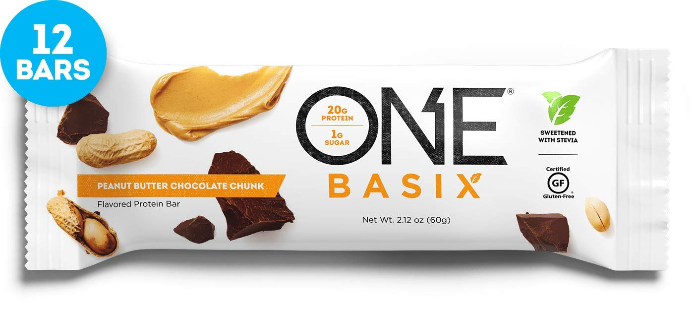 ONE Basix Protein Bars, Peanut Butter Chocolate Chunk, Gluten Free Protein Bars with 20g Protein and only 1g Sugar, Guilt-Free Snacking for High Protein Diets, 2.12 oz (12 Pack) by ONE