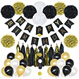 85 Pieces Birthday Party Decoration Set in Gold and Black- includes Happy Birthday Banner, 20 Party Balloons, 10 Paper Pom Poms, 10 Tassels and 32 Round Paper Garland Perfect For Any Birthday Party