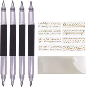 Afantti Scribe Tool, Tungsten Carbide Tip Scriber Scribing Engraving Etching Pen DIY Engraver Etcher Tool Kit for Metal Glass Ceramics Stone Tile Wood Jewelry with Stencils, 4 Pack