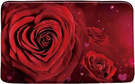 Red Rose Get Naked Floral Bath Mat Home Decor Bathroom Decor Urban Modern Love Valentine
