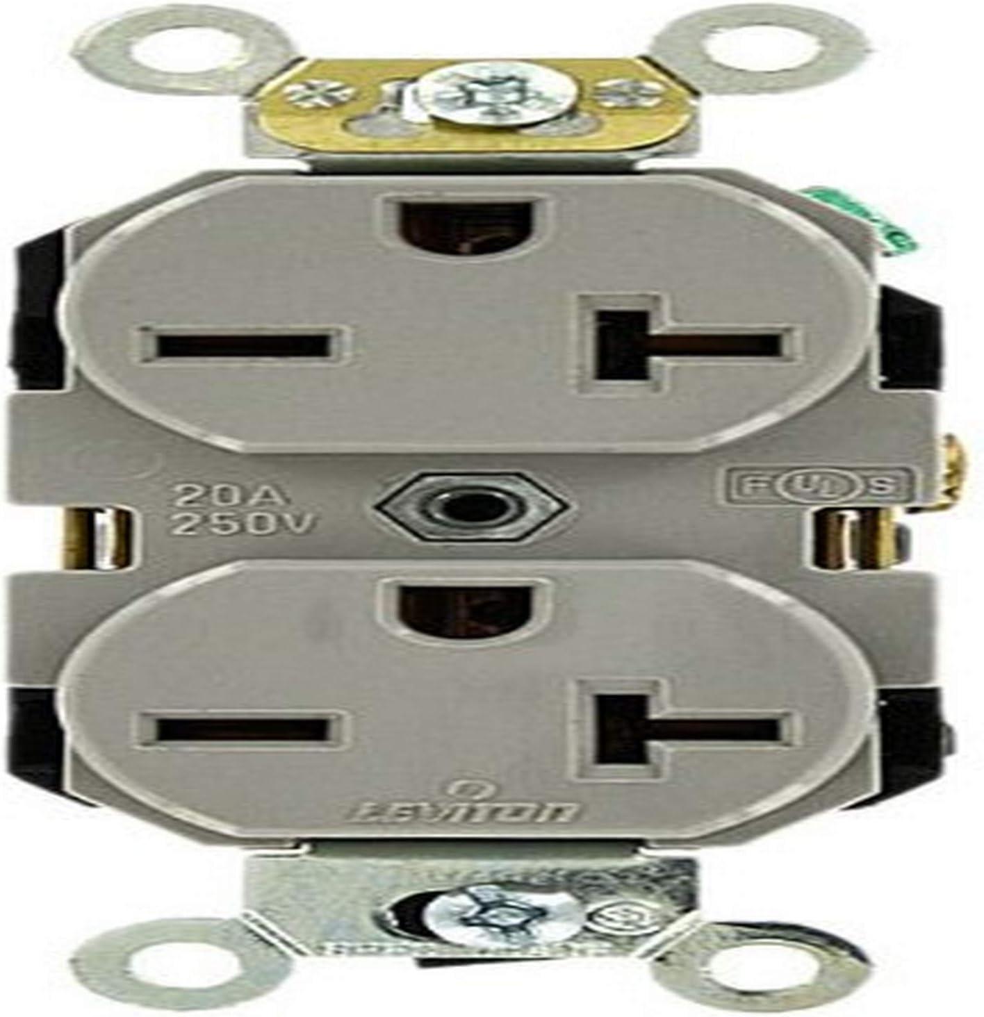 Leviton 5462-I 20 Amp 250 Volt Duplex Receptacle, Industrial Heavy Duty Grade