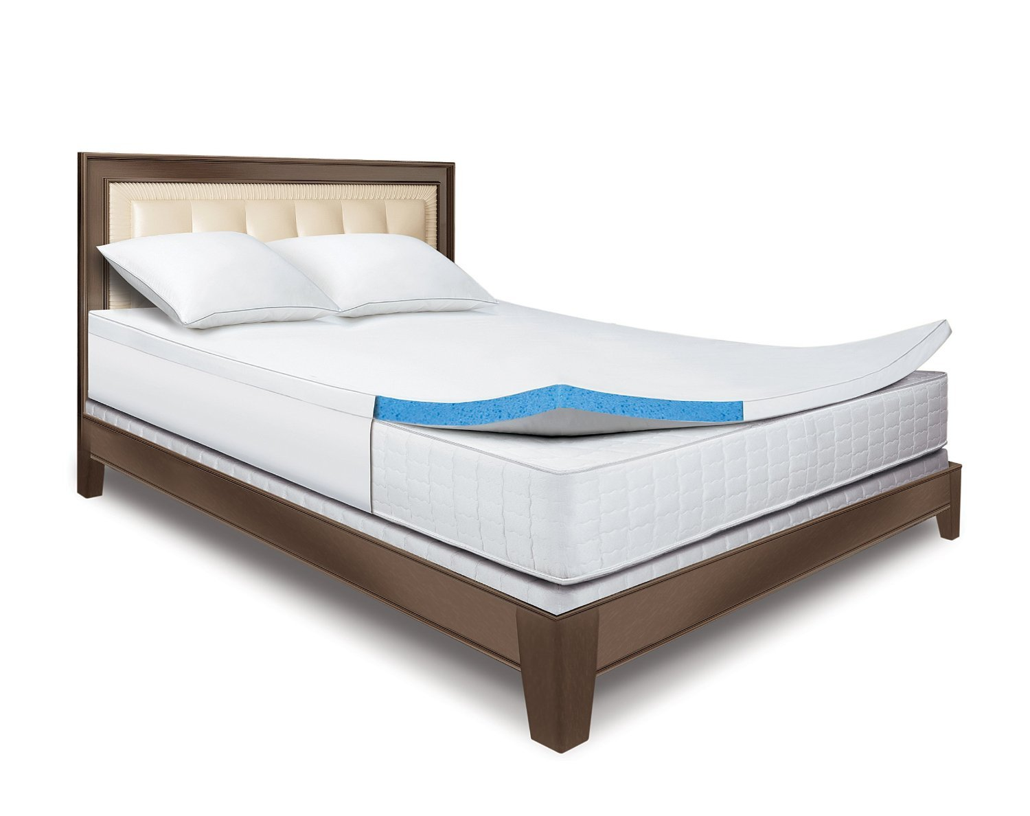Sleep Innovations 2-Inch Gel Memory Foam Topper With Fitted Cover.   10-year limited warranty.  Made in the USA. by Sleep Innovations