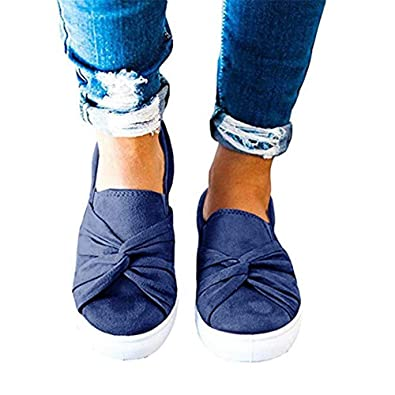 69ba798dbf131 Shele Womens Loafers Slip On Flatform Top Ruched Knot Fashion Walking  Sneakers Shoes Blue