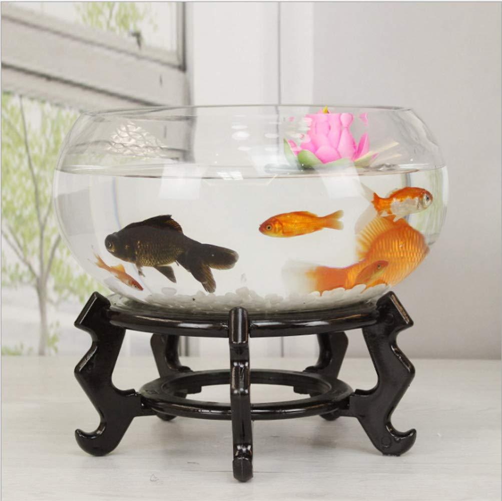 B, 40CMSanQing Aquarium Round Glass Fish Tank Transparent Mini Turtle Tank goldfish Bowl Living Room Home Desk,B,,40CM