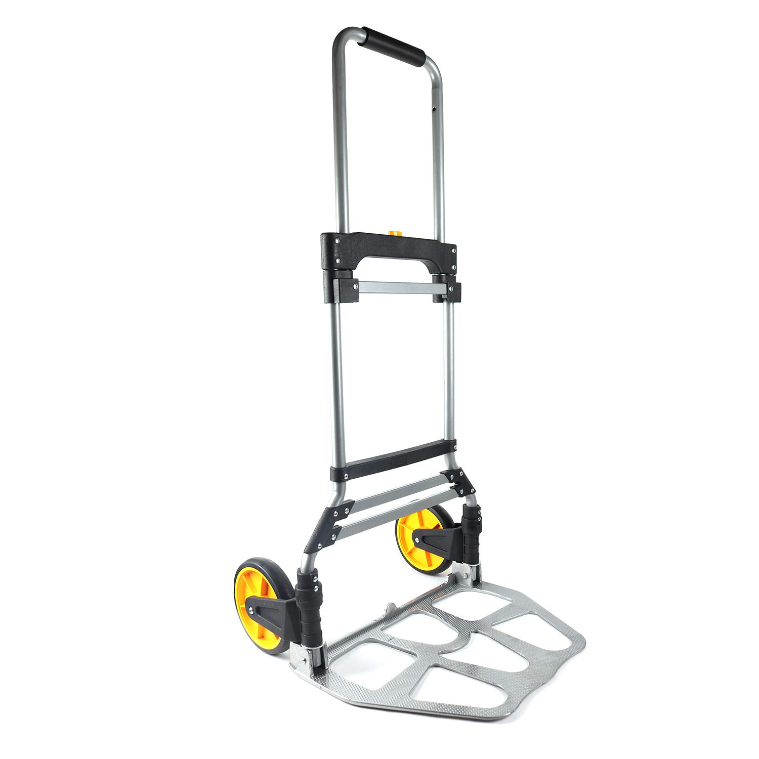 Berry Ave Foldable Hand Cart - Easy Folding Hand Truck - Aluminum Alloy Folding Dolly with Ergonomic Grips - 2 Wheeled Easy Push Moving Dolly - Easily Holds Up To 265 Lbs. - Silver