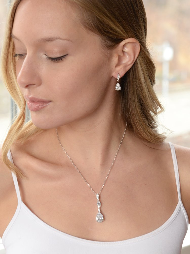 Mariell Platinum Plated Pear-Shaped CZ Bridal, Bridesmaids or Prom Necklace and Earring Set by Mariell (Image #4)