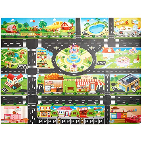 - SuperUS Kids Rug -Large Play Mat, Thick Woven Carpet, Anti Skid, Colorful City Street Theme for Playing with Cars and Toys - Promotes Educational and Imaginative Fun Play