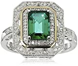 Sterling Silver and 14k Yellow Gold Emerald Cut Created Emerald and Diamond Accent Art Deco-Style Ring, Size 7