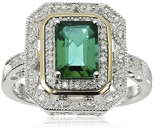 Sterling Silver and 14k Yellow Gold Emerald Cut Created Emerald and Diamond Accent Art Deco-Style Ring, Size 7 by Amazon Collection