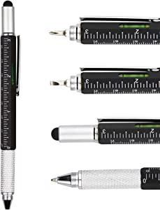 DunBong Metal Multi tool Pen 6-in-1 Stylus Pen - With Screwdriver, Phillips Screwdriver, Flathead Bit Slotted Screwdriver, Ballpoint Pen Black ink, Stylus pen, Bubble Level and Ruler (Black)