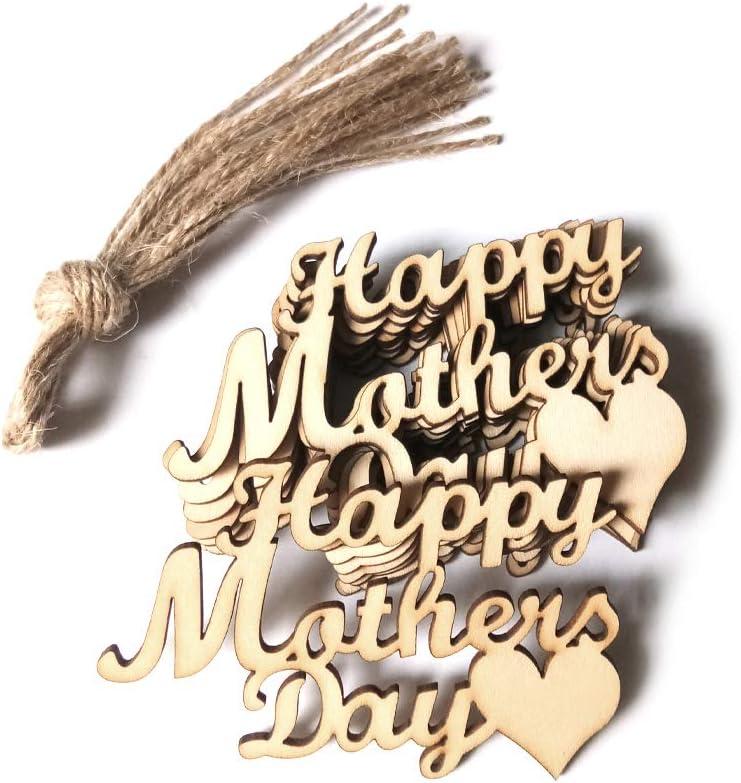 Lazder 10 piezas Feliz Día de la Madre Placa de madera para colgar regalo de la madre arte decoración del hogar adornos DIY artesanal