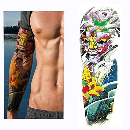 1 Hoja Grande Grande Brazo Completo Tatuajes Pegatina Diablo Flor ...