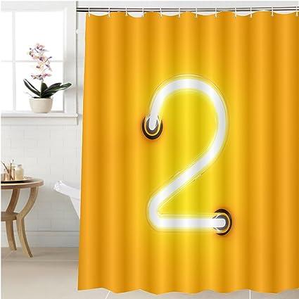 Amazon.com: Gzhihine Shower curtain neon light digit alphabet ...