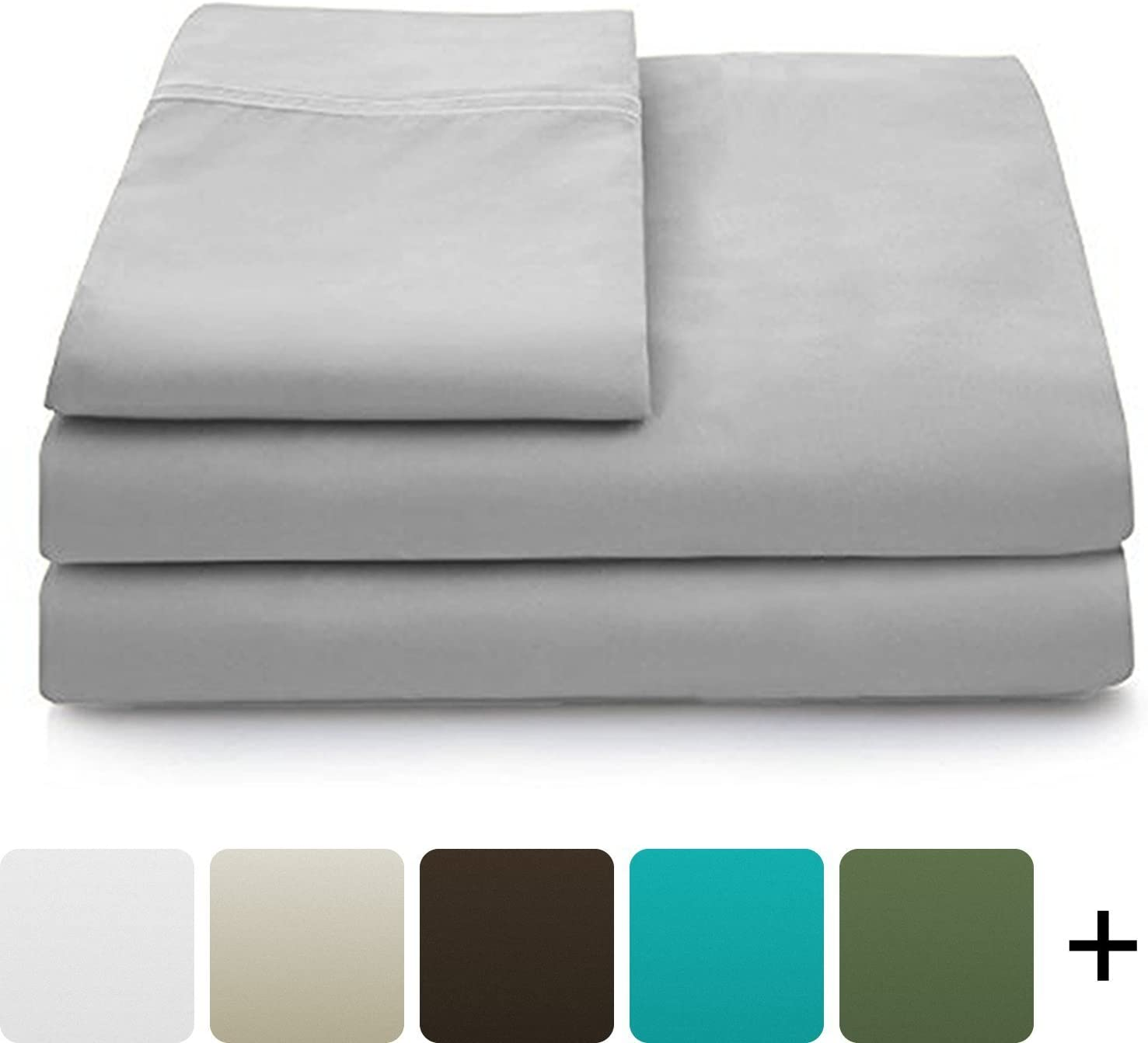 Cosy House Collection Luxury Bamboo Bed Sheet Set - Hypoallergenic Bedding Blend from Natural Bamboo Fiber - Resists Wrinkles - 4 Piece - 1 Fitted Sheet, 1 Flat, 2 Pillowcases - Queen, Silver