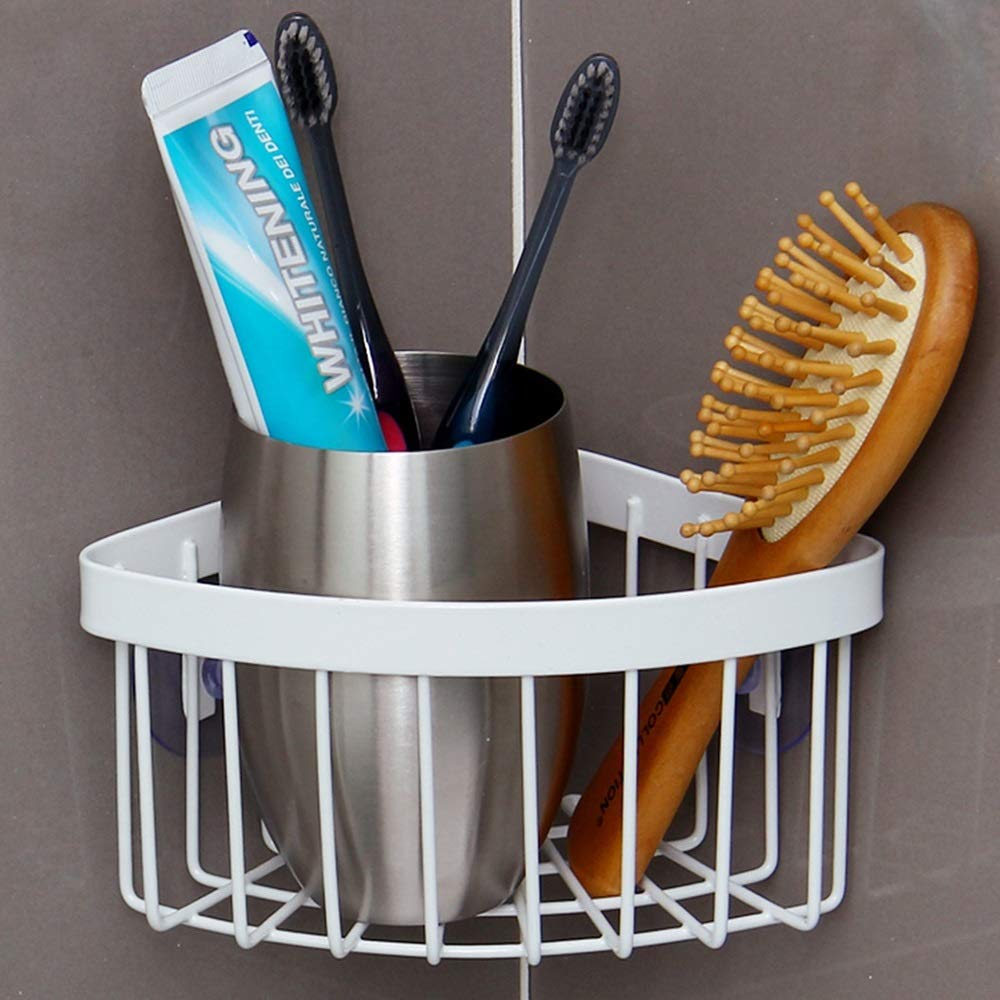 Sink Caddy with Strong Suction Cups-Small Sponge Holder Made of Coated-Compact Soap Holder for Bathroom Sink or Kitchen Sink-Metal by Guoqing (Image #5)