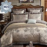 MKXI Duvet Cover Set Floral Embroidery Sateen Cotton Vintage King Size Bedding Set