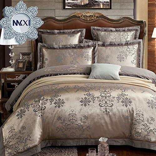 MKXI Duvet Cover Set Floral Embroidery Sateen Cotton Vintage