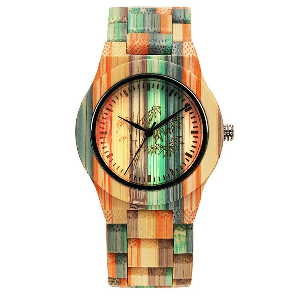 109ceae0ab1 Asallway 1 Pcs Women Lady Wrist Quartz Watch Wooden Strap Round Dial  Colorful Fashion Gift  Amazon.in  Home   Kitchen