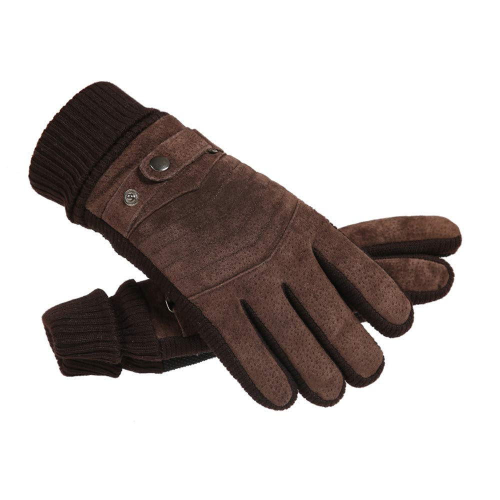 Mens Winter Warm Touch Screen Gloves Leather Cold Weather Windproof Cycling Driving Cotton Gloves