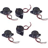 OdiySurveil(TM) 30x15mm DC 3-24V 85dB Active Piezo Sound Electronic Buzzer Alarm Black,Pack of 6