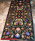 48'' x 24'' Rectangle Black Marble Luxury Dining Table Top Multi Color Floral Design Inlay Pietra Dura Art