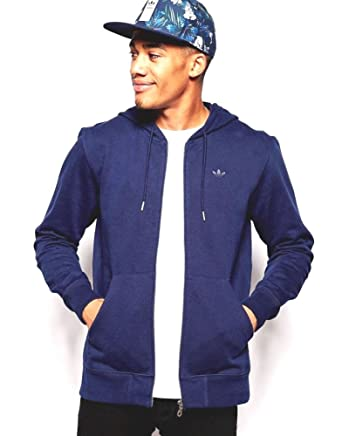 Adidas Originals Men S Zip Up Hoodie With Small Logo Small Navy Blue