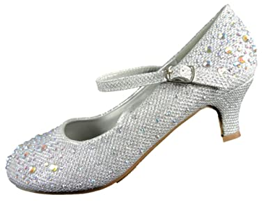 5e0bf3b62fd Kids Girls Mary Jane Party Shoes Diamante Glitter Bridesmaids Low Heels  Size UK 9-2