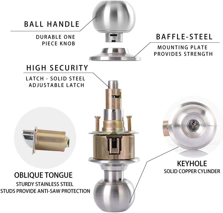 Taftek AMK101 Ball Entry Door Knob Door Lock in Satin Nickel