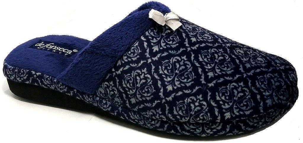 DE FONSECA ciabatte pantofole invernali da donna mod. VERONA W222 blu  -
