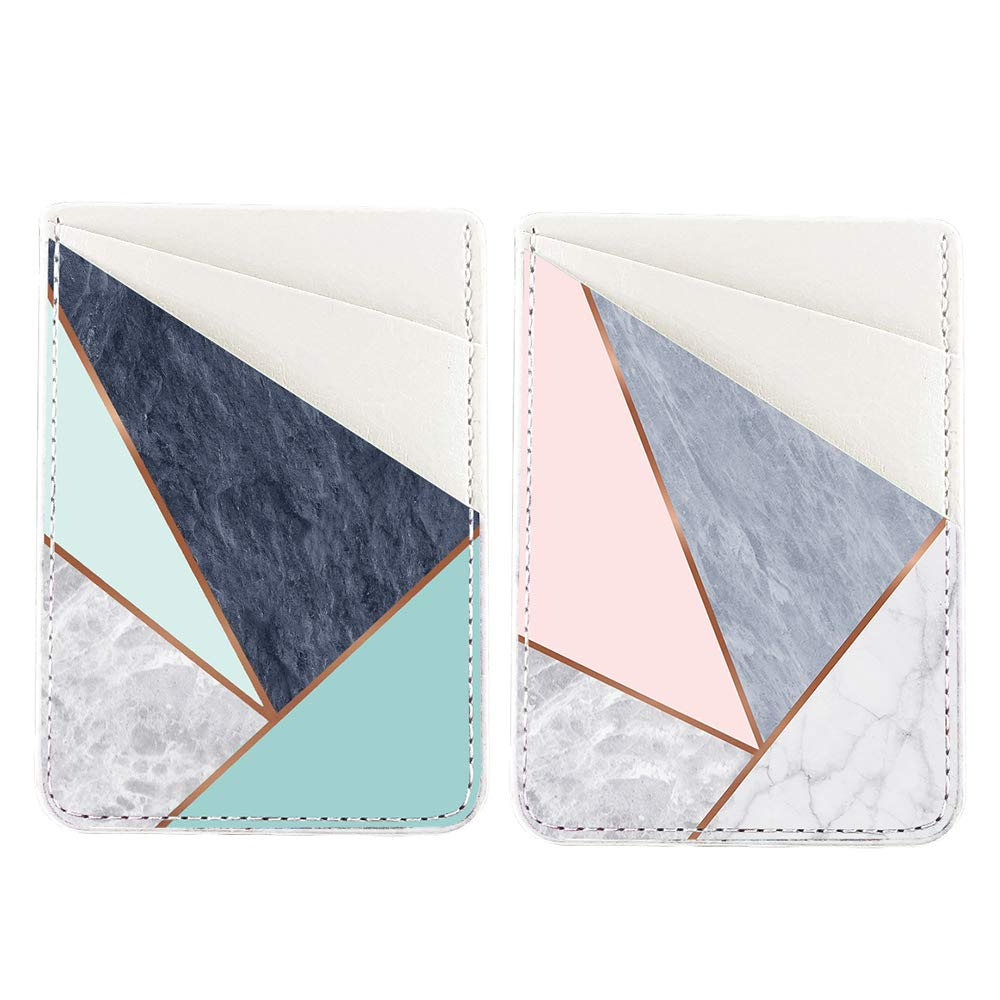 2 Pack Obbii PU Leather Card Holder for Back of Phone with 3M Adhesive Stick-on Credit Card Wallet Pockets for iPhone and Android Smartphones (Pink & Blue Geometric Grey Marble) by Obbii