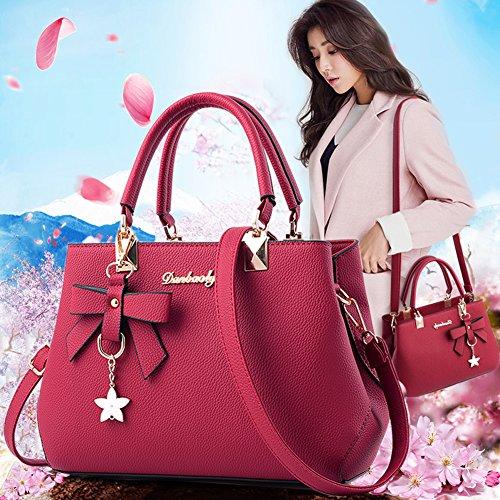 Zone PU Handbags Shoulder Tote Women Wine for Messenger Handbags Bags Fantastic Bags Leather Women Fashion Red dw10HHq