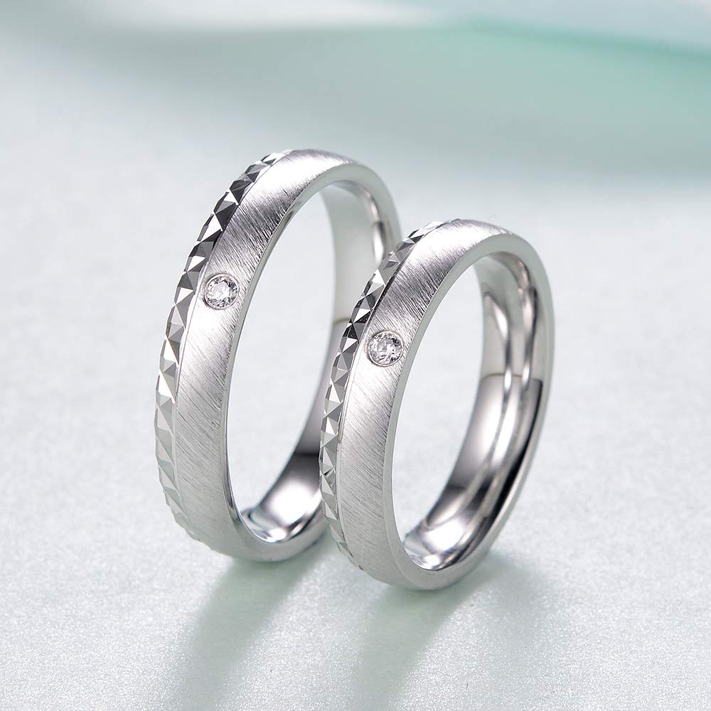 MDEAN Wedding Rings for Couple Brushed Bands AAA Zircon Engagement Jewelry for Men Size 6-9