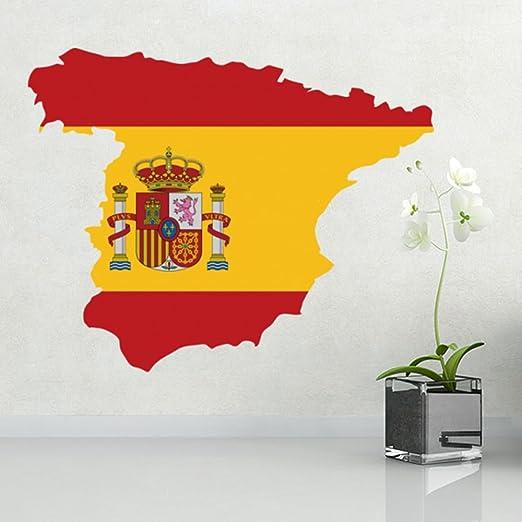 DIYthinker Mapa de la Bandera de la Etiqueta engomada España Pared de Vinilo Personalizado la decoración