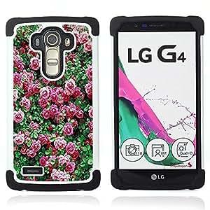 /Skull Market/ - Rose Pink Flower Romantic Love Heart For LG G4 H815 H810 F500L - 3in1 h????brido prueba de choques de impacto resistente goma Combo pesada cubierta de la caja protec -