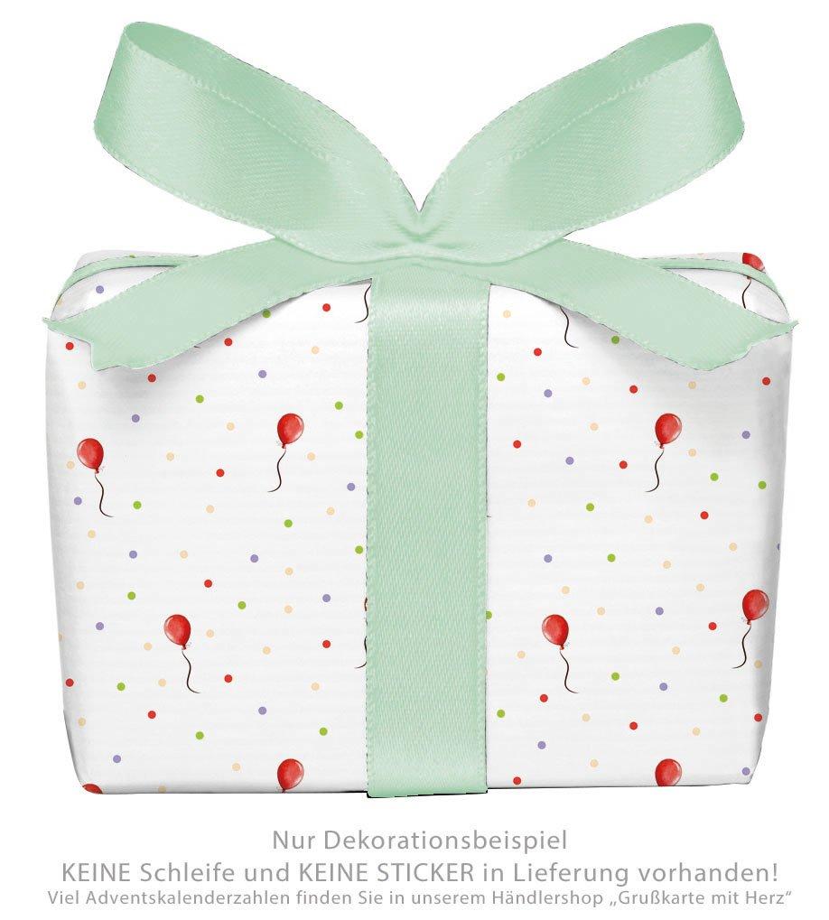 Set di 3 fogli di carta da regalo per bambini/compleanno/bambino/nascita/battesimo con palloncino rosso e pois per ragazze e ragazzi Formato: 50 x 70 cm Tina Frankenstein-Börlin
