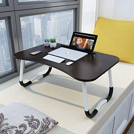 Adjustable Laptop Stand Foldable Portable,Foldable Tray Table for Couch and Sofa,Suitable for Bed Office-Black