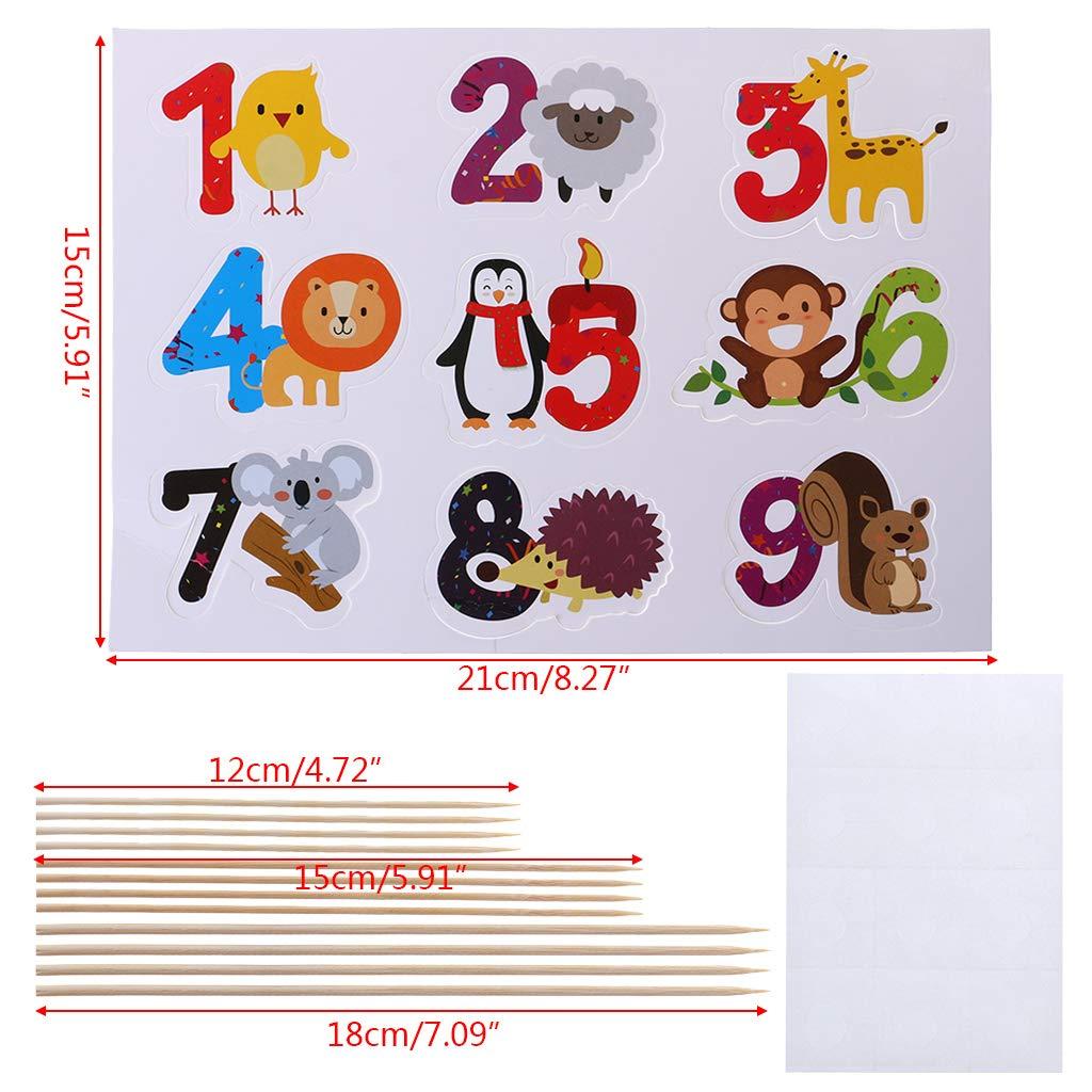 Biniwa - 1 juego de tarjetas de felicitación para números de animales, tarjeta de inserción para cupcakes, para niños, cumpleaños, bodas, decoración de ...
