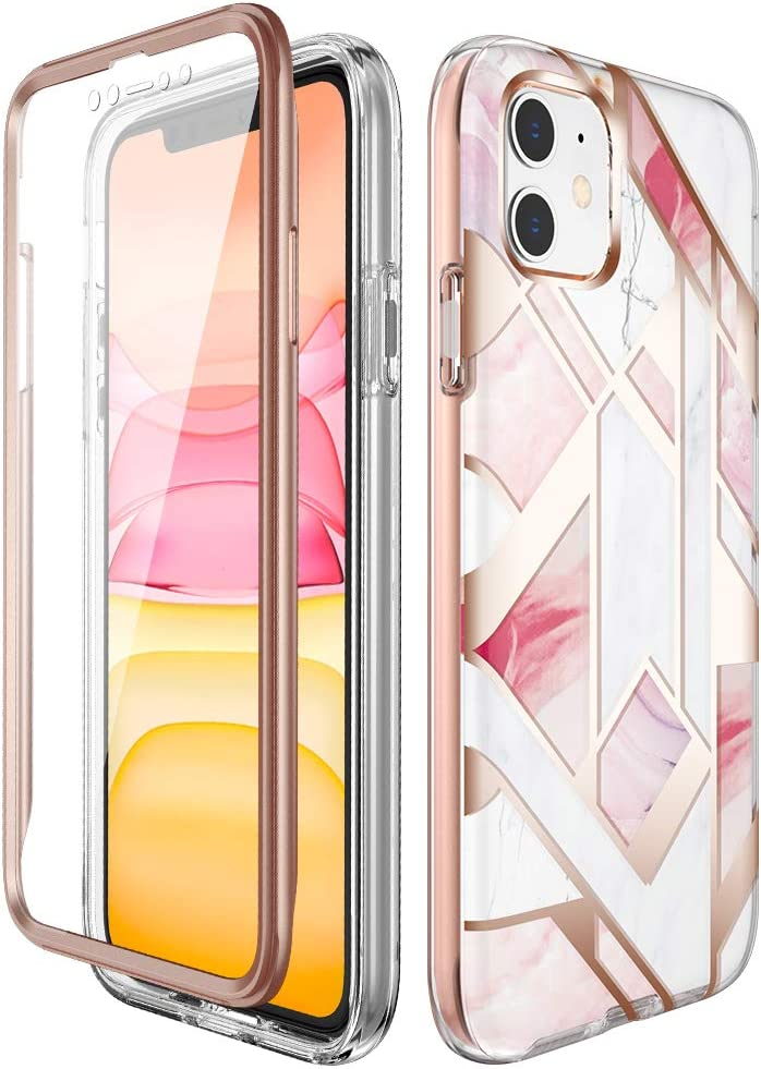 Miracase Compatible with iPhone 11 Case(2019 Release,6.1 Inch) with Built-in Screen Protector, Full Body Protective Shock-Absorption Bumper Cover Case for Apple iPhone 11,Pink Marble
