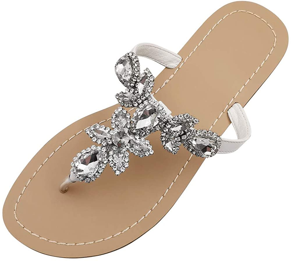 Hinyyrin Available in 13 Colors,Rhinestone Sandals,Womens Flat Sandals,Flip Flop,Jeweled Sandals