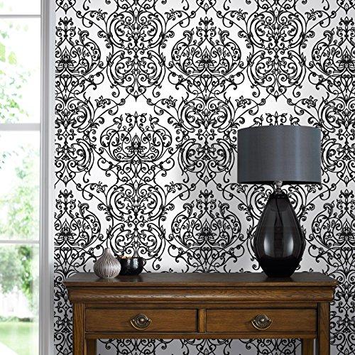 (Graham & Brown 103267 Empress Damask Black/White Wallpaper)