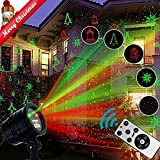 Christmas Laser Light Projector, Popstar Waterproof LED Red Green Star Motion Fairy Shower Magic Landscape Projection Lighting Buy Slide Show Display for Outdoor Outside House Holidays Xmas Decoration