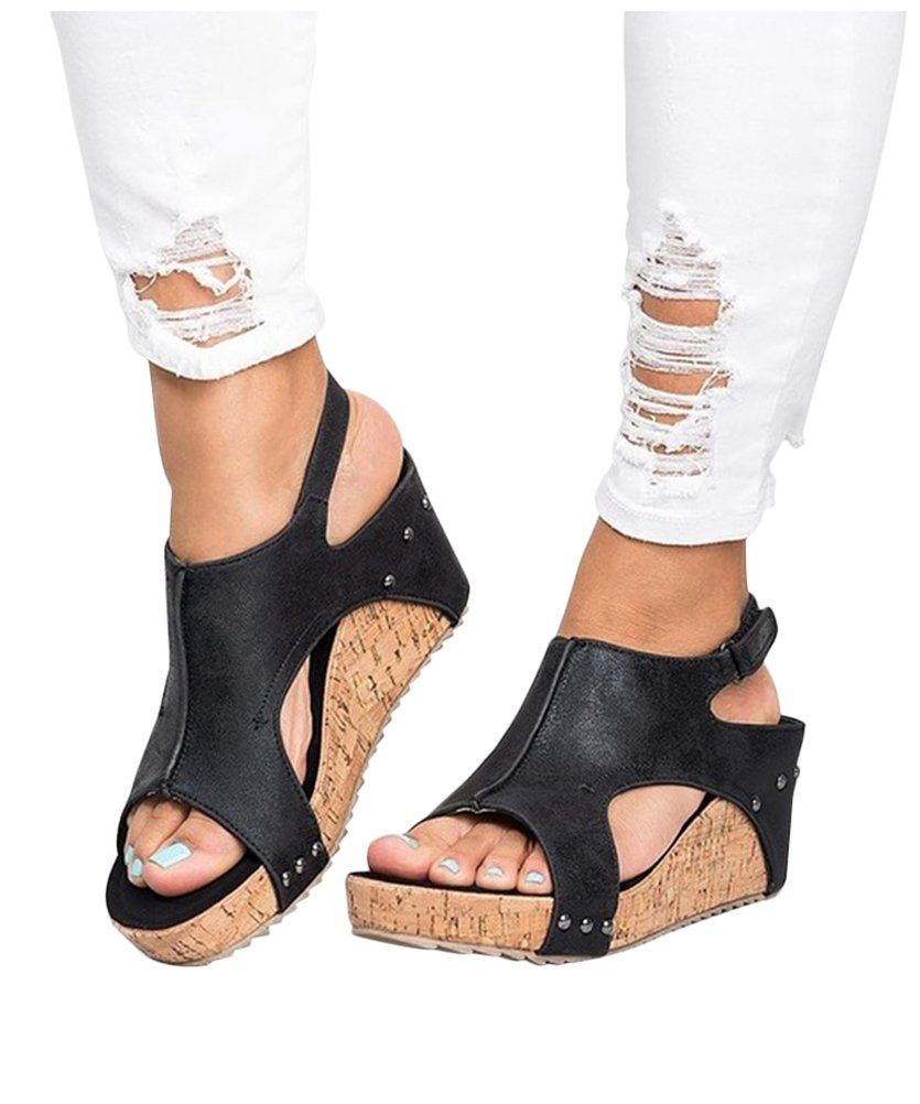 LIBERVIV Women Gladiator Sandals Platform Wedge Heels Velcro Strap Shoes Plus Size EU 35-43 B07DDFPMDY 9 B(M) US|Black