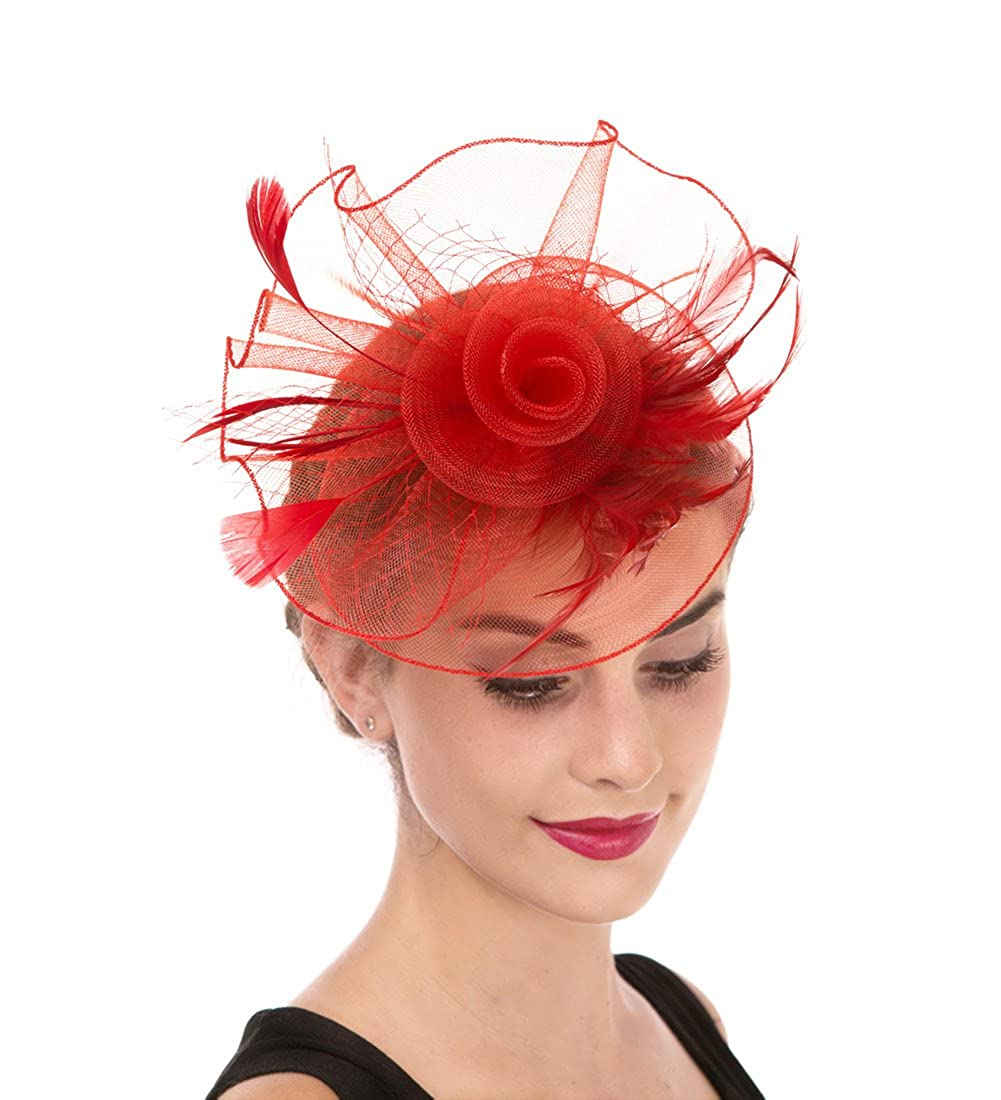 Hj1red Fascinator Women's Organza Church Kentucky Derby British Bridal Tea Party Wedding Hat Summer Ruffles Cap
