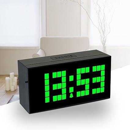 Lambtown Verde Digital LED de Pared Escritorio Reloj Despertador con Pantalla Grande LED Show Tiempo Fecha