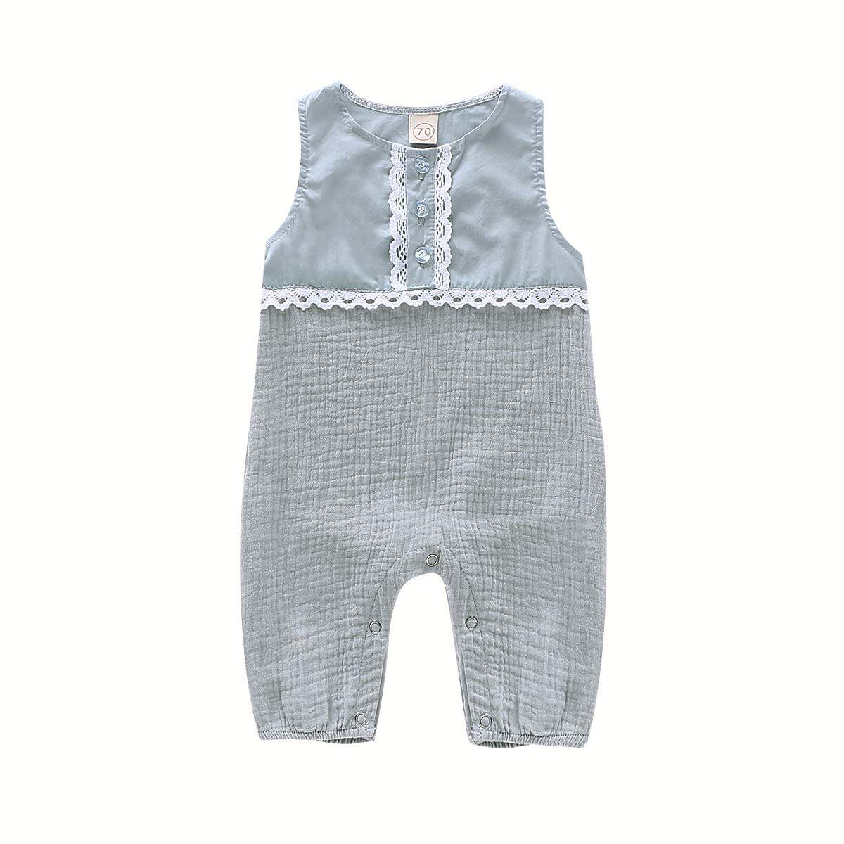 PROBABY Newborn Baby Girls Jumpsuit Romper Solid Cotton Linen Sleeveless One-Piece Bodysuits Toddler Girl Summer Outfits