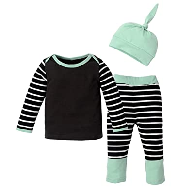 3PCSNewborn Baby Boys Girls Outfit Clothes Stripe T-Shirt Tops+Long Pants+Hat 1Set