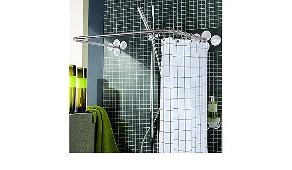 Barra de cortina de ducha Antideslizante Acero Inoxidable/Telescópica Extensible/Perforación Libre/Toallero de baño/Bañera de Ducha/Cortina de Ducha en Forma de U Poste (4 tamaños dispon: Amazon.es: Hogar